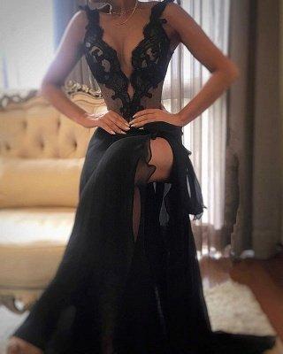 Elegant Black Prom Dress UK | Lace Evening Gowns With Slit_1