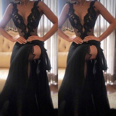 Elegant Black Prom Dress UK | Lace Evening Gowns With Slit_3