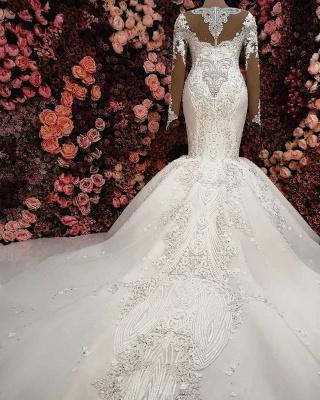 Glamorous Crystals Sexy Mermaid Bridal Gowns Long Sleeves  Wedding Dresses UK_3
