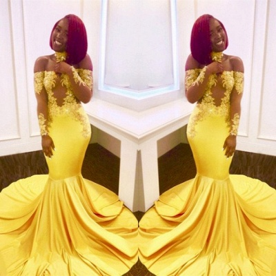 Off-the-shoulder yellow prom Dress UK, mermaid long evening gowns BA7903_3