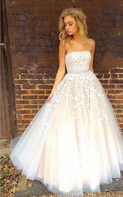 Pretty Strapless Lace Appliques Evening Dress UK Tulle Prom Gowns_1