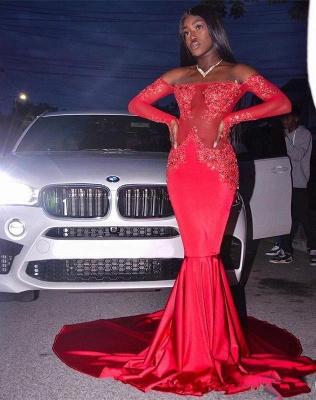 Elegant Long Sleeve Red Mermaid Prom Dress UK | Lace Prom Dress UK BK0_3