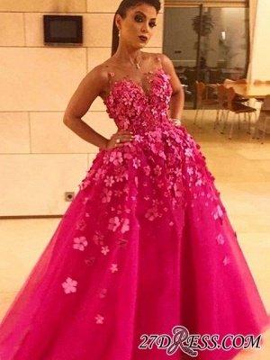 Fuchsia Sleeveless Prom Dress UK | Long Evening Party Dress UK With Appliques_1