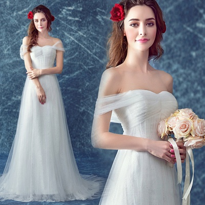 Romantic Tulle Off-the-shoulder Wedding Dress Lace-up Sweep Train_3
