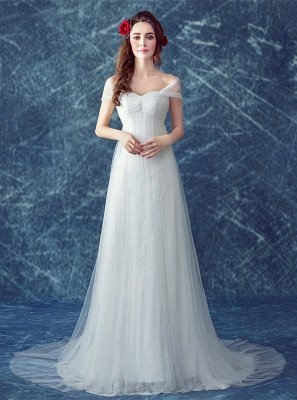 Romantic Tulle Off-the-shoulder Wedding Dress Lace-up Sweep Train_1