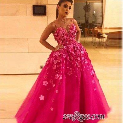 Fuchsia Sleeveless Prom Dress UK | Long Evening Party Dress UK With Appliques_2