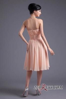 Crystal Chiffon Knee-Length Ruffles A-Line Gorgeous Strapless Bridesmaid Dress UK_5