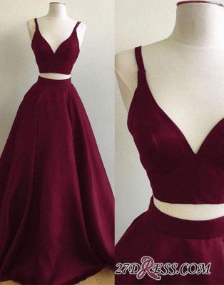 Straps Two-Piece Sexy A-line Sleeveless Burgundy Prom Dress UK SP0316_2