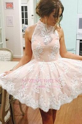 Lace Lovely High-Neck Short Sleeveless Homecoming Dress UK BA3646_1