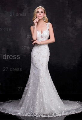 Delicate Straps Sexy Mermaid Lace Appliques Wedding Dress Sweep Train_1