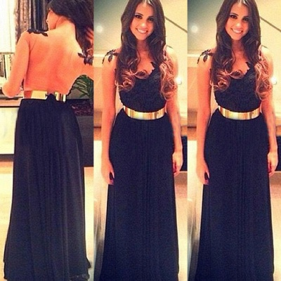 sweetheart blue Vestidos chiffon evening Dress UK navy tulle prom gowns with gold Sash_2