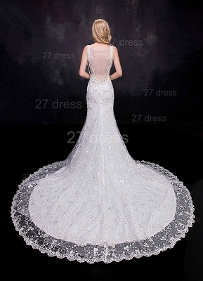 Delicate Straps Sexy Mermaid Lace Appliques Wedding Dress Sweep Train_3