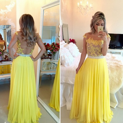 Delicate Yellow Chiffon Pearls Prom Dress UK Lace Appliques BT0_2