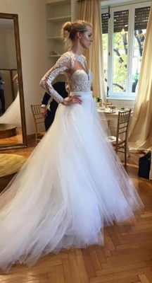 Elegant Long Sleeve Designer Lace Wedding Dresses UK Tulle Lace Bridal Gowns_1