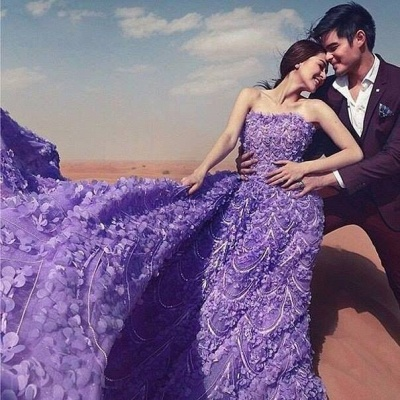 Elegant Purple Off-the-shoulder Wedding Dress Long Train Flowers BAFRW0010_5