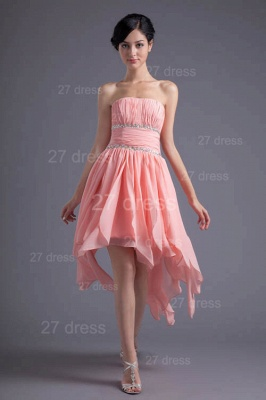 Modern Chiffon Pink Beadings Cocktail Dress UK Short Strapless_2