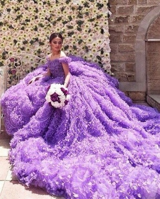 Elegant Purple Off-the-shoulder Wedding Dress Long Train Flowers BAFRW0010_1