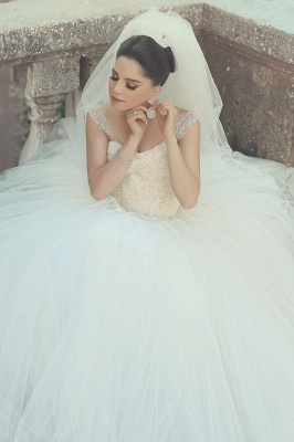 Elegant Off-shoulder Tulle Wedding Dress Ball Gown With Beadss_1