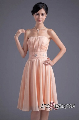 Crystal Chiffon Knee-Length Ruffles A-Line Gorgeous Strapless Bridesmaid Dress UK_4