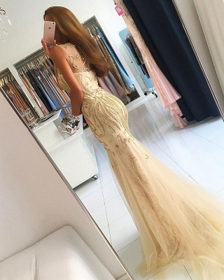 Luxury Sleeveless Beadings Mermaid Evening Dress UK On Sale_2