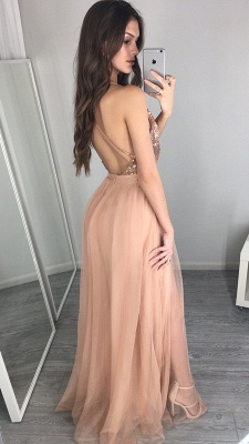 Side-Slit Floor-Length Sequined Elegant Deep-V-Neck Prom Dress UK_4