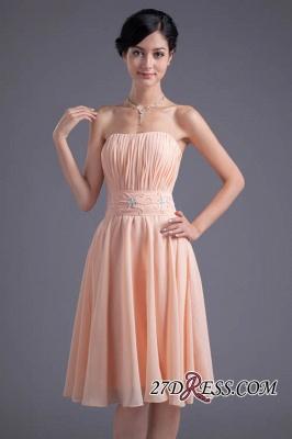 Crystal Chiffon Knee-Length Ruffles A-Line Gorgeous Strapless Bridesmaid Dress UK_6