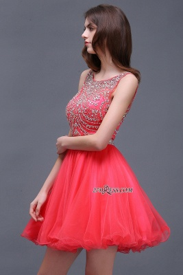 Applique Sleeveless Crystal Beads Cute A-Line Rose Short Evening Dress UKes UK_3