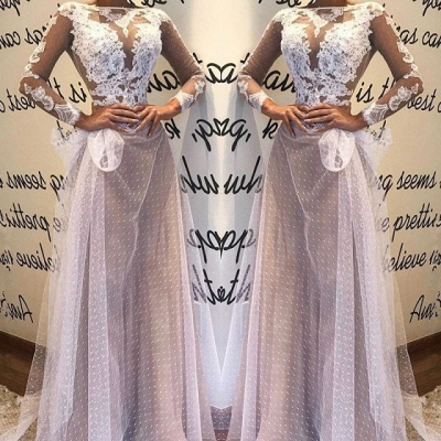 Sexy Long Sleeve Evening Dress UK | Lace Mermaid Tulle Prom Dress UK_3