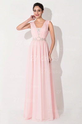 High Quality Chiffon Pink Evening Dress UK Sleeveless Beadings_1