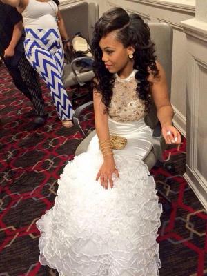Luxury White High-Neck Mermaid Evening Dress UK With Beadings Crystals BK0_4