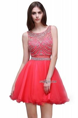 Applique Sleeveless Crystal Beads Cute A-Line Rose Short Evening Dress UKes UK_6