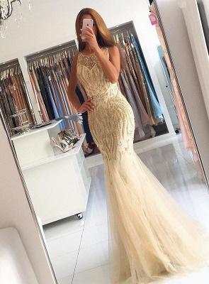 Luxury Sleeveless Beadings Mermaid Evening Dress UK On Sale_1
