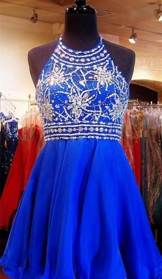 Newest Royal Blue Mini Homecoming Dress UK Crystals Halter Sleeveless_1