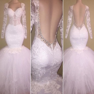 Gorgeous Long Sleeve White Lace Evening Dress UK Sweetheart Backless Long Party Dress UK BA8424_3