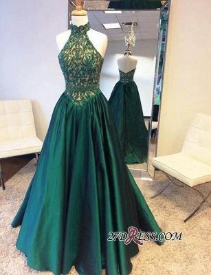 A-Line Green Open-Back Beadings Halter Floor-Length Prom Dress UK BA5240_1