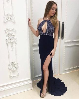 Elegant Halter Mermaid Prom Dress UK Long With Bead Chiffon party Dress UK Side Split_3