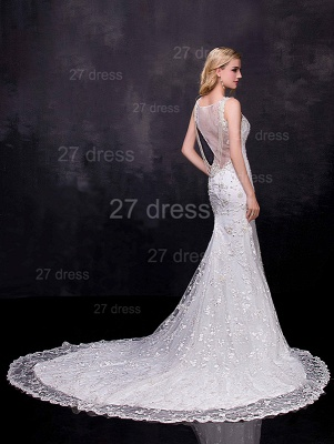 Delicate Straps Sexy Mermaid Lace Appliques Wedding Dress Sweep Train_2