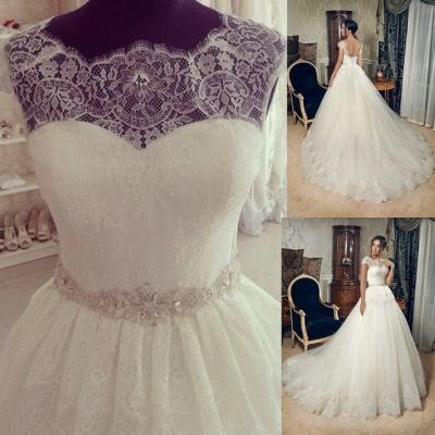 Elegant Lace Fashion Cap Sleeve Princess Wedding Dress With Crystals_2