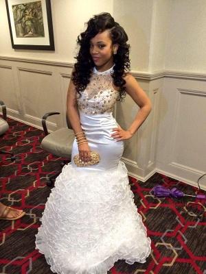 Luxury White High-Neck Mermaid Evening Dress UK With Beadings Crystals BK0_1