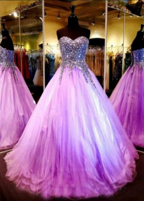 Luxurious Sweetheart Princess Tulle Evening Dress UK Crystals Sequins_1