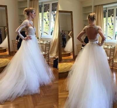 Elegant Long Sleeve Designer Lace Wedding Dresses UK Tulle Lace Bridal Gowns_3