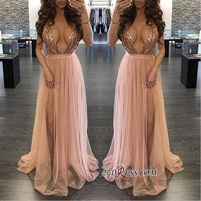 Side-Slit Floor-Length Sequined Elegant Deep-V-Neck Prom Dress UK_2