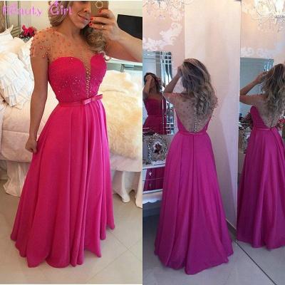 Stunning Pearls Sheer Short Sleeve Evening Dress UK Long Chiffon Lace BT0_3