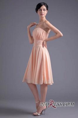 Crystal Chiffon Knee-Length Ruffles A-Line Gorgeous Strapless Bridesmaid Dress UK_3