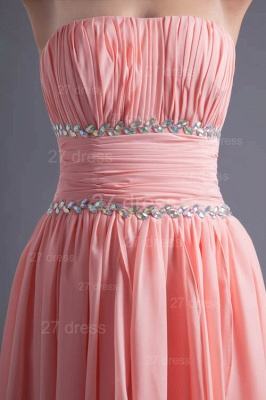 Modern Chiffon Pink Beadings Cocktail Dress UK Short Strapless_4