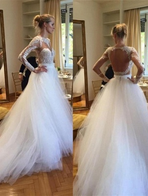Elegant Long Sleeve Designer Lace Wedding Dresses UK Tulle Lace Bridal Gowns_4