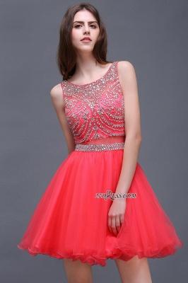 Applique Sleeveless Crystal Beads Cute A-Line Rose Short Evening Dress UKes UK_5