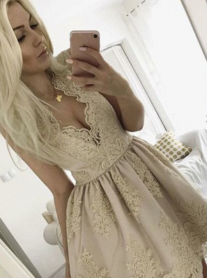 Lovely Lace Appliques Short Homecoming Dress UK On Sale_1