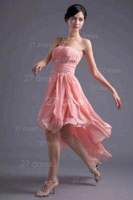 Modern Chiffon Pink Beadings Cocktail Dress UK Short Strapless_3
