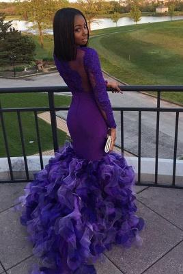 Long sleeve purple prom Dress UK, mermaid ruffles evening gowns BK0_3